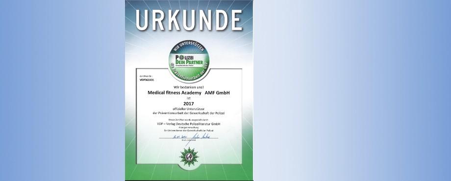 Die Medical Fitness Academy als offizieller Premiumunterstützer, die wichtige Präventionsarbeit der Polizei.